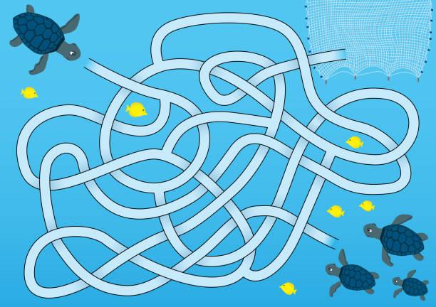 Azul labirinto de tartaruga-marinha - ilustração de arte em vetor