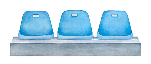 Asientos azul en el estadio o abrir las puertas de la arena. Deporte, entretenimiento, competencia, espectáculo, evento público muebles. - ilustración de arte vectorial