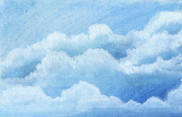 blue sky cloud water color painting art for postcard background. vector art illustration