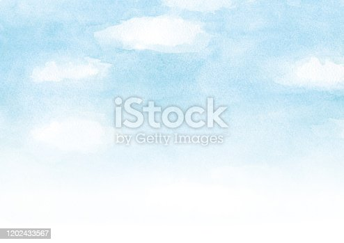 blue sky with cloud watercolor background