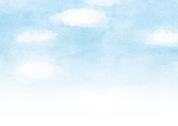 雲の水彩画の背景を持つ青い空 - 空点のイラスト素材/クリップアート素材/マンガ素材/アイコン素材