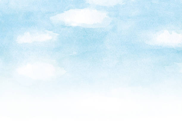 blauer himmel mit wolke aquarell hintergrund - himmel stock-grafiken, -clipart, -cartoons und -symbole