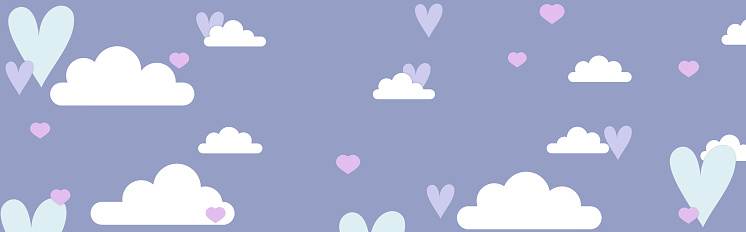 Blue sky with white clouds and colored hearts