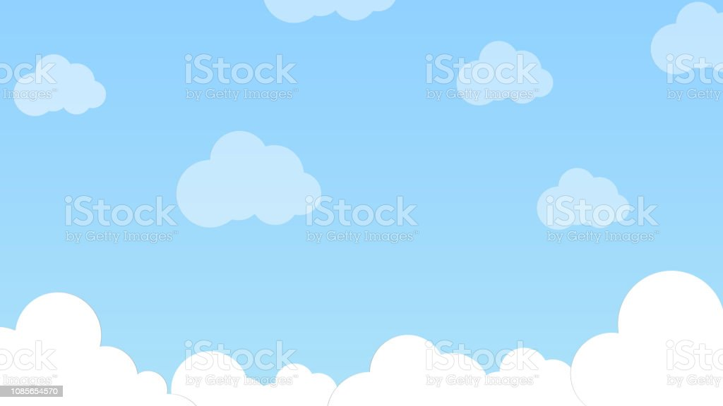 Blue Sky With White Clouds Gradient Background Flat Style