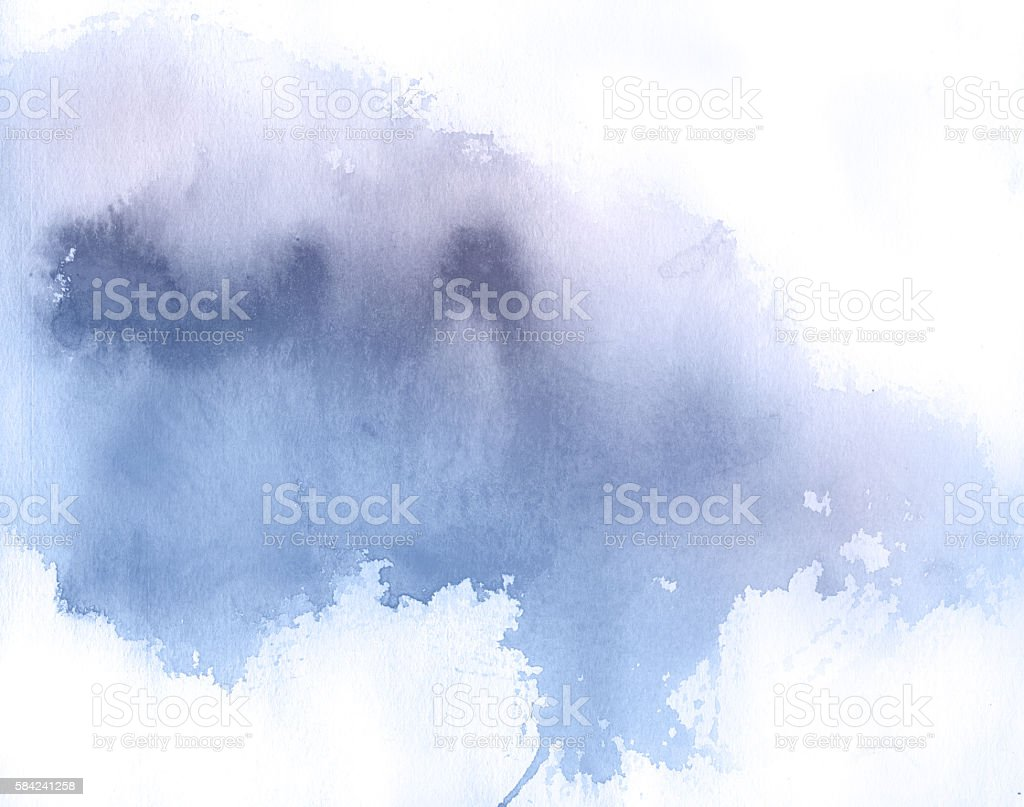 Blue spot, watercolor abstract hand painted background vector art illustration