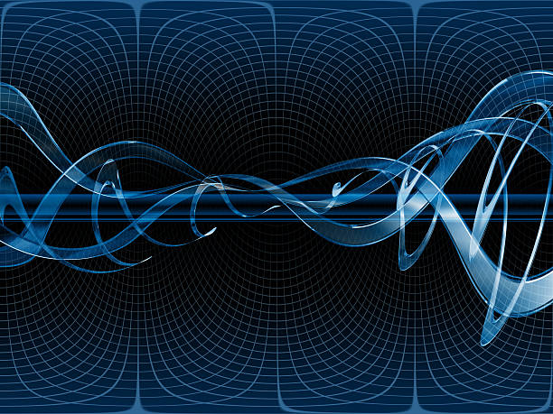 Blue Technical Background - Warped Glass Waves vector art illustration