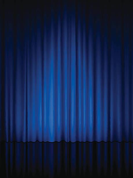 blue theater vorhang vertikale - plüsch stock-grafiken, -clipart, -cartoons und -symbole