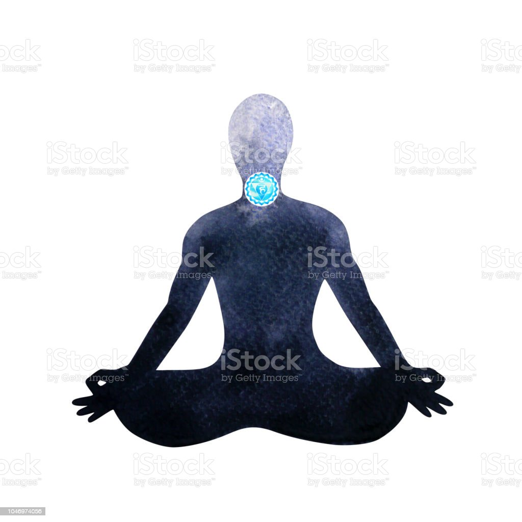 Blue Throat Chakra Human Lotus Pose Yoga Abstract Inside Your Mind Mental  Watercolor Painting Illustration Design Hand Drawn Stock Illustration -