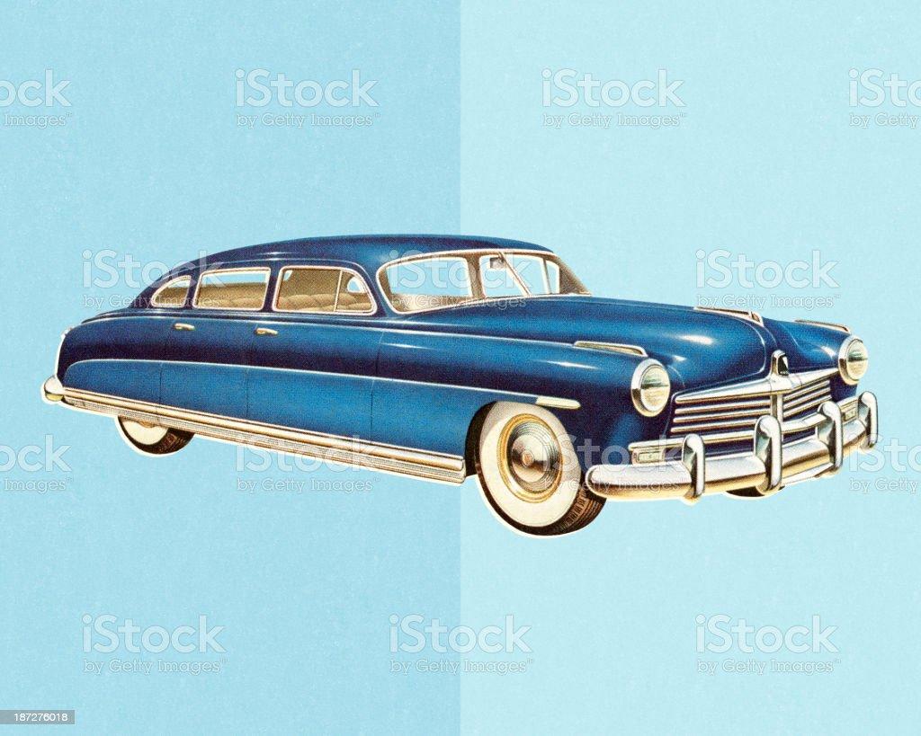 Blue Vintage Car royalty-free stock vector art