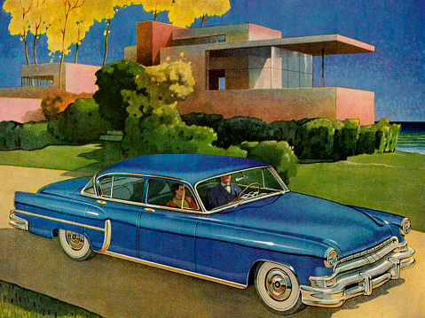 Blue Vintage Car In Front of House