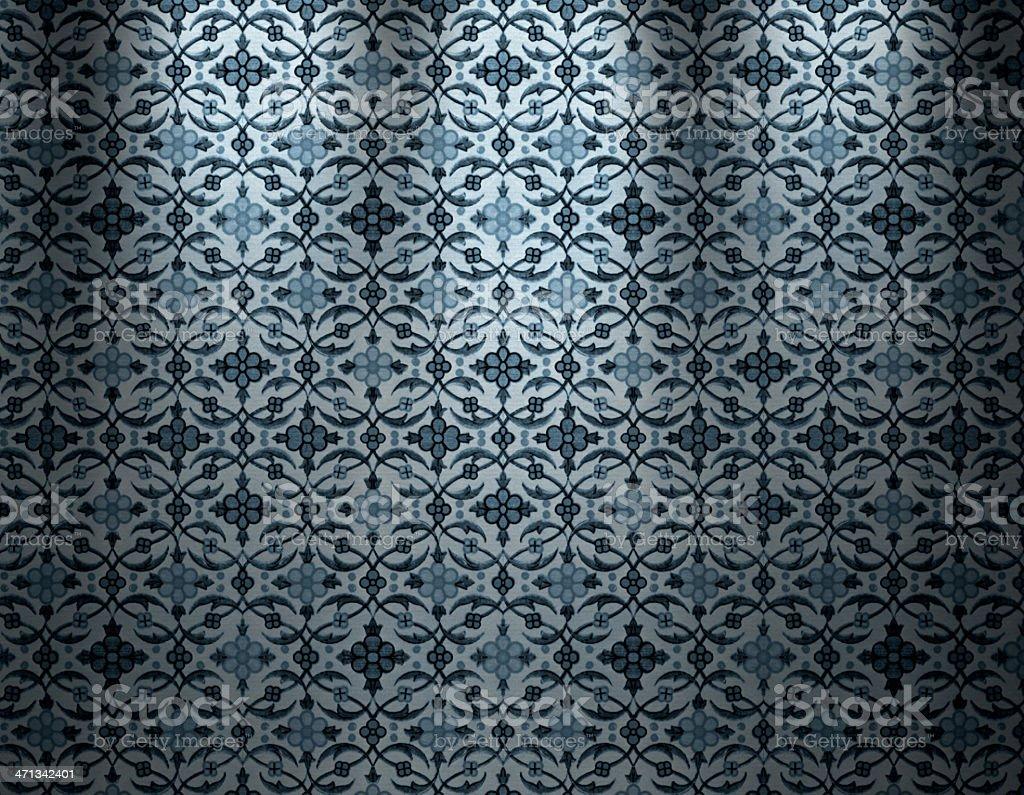 Blue Vintage Wallpaper vector art illustration