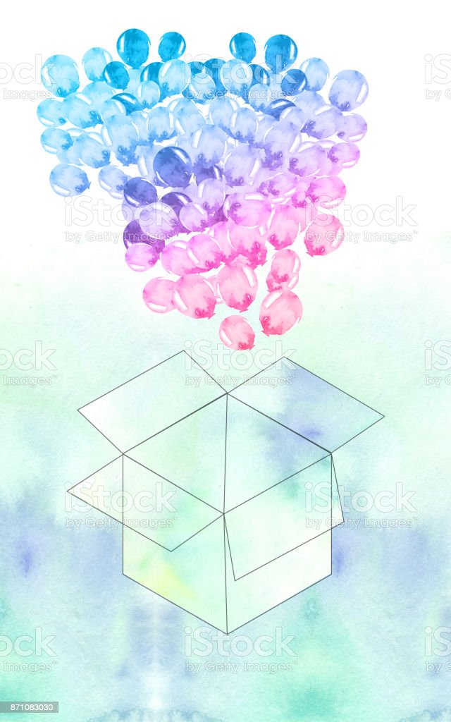 Blue Watercolor Balloons From Open Box Stock Illustration - Download