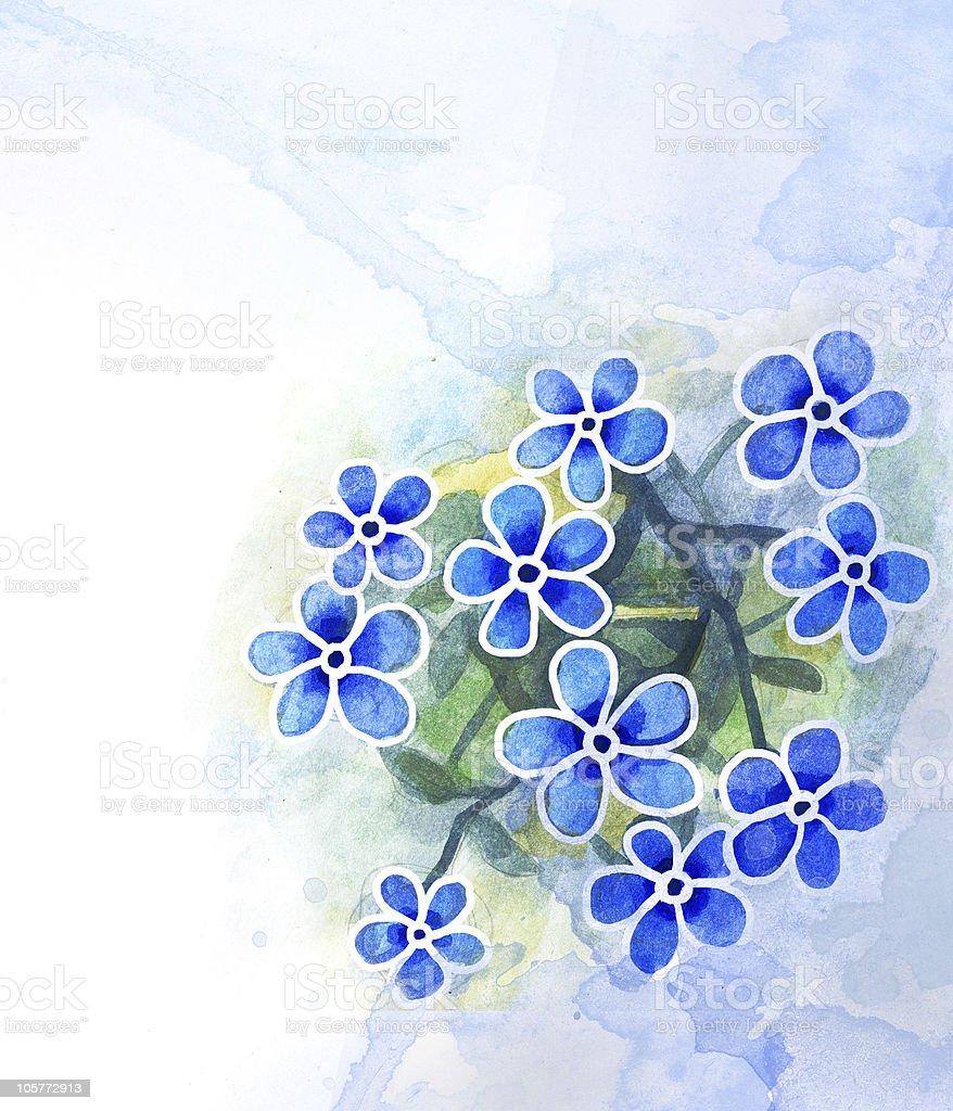 Blue watercolor flower royalty-free stock vector art