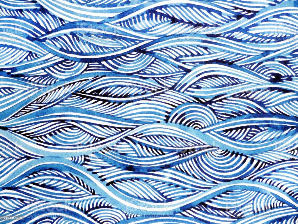 blue wave minimal watercolor painting hand drawn japanese style design illustration vector art illustration