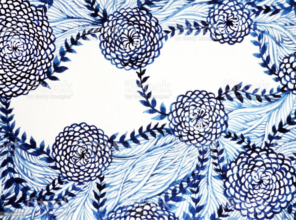 青・白のブラシ水彩画花花柄手描き下ろしイラスト ベクターアートイラスト
