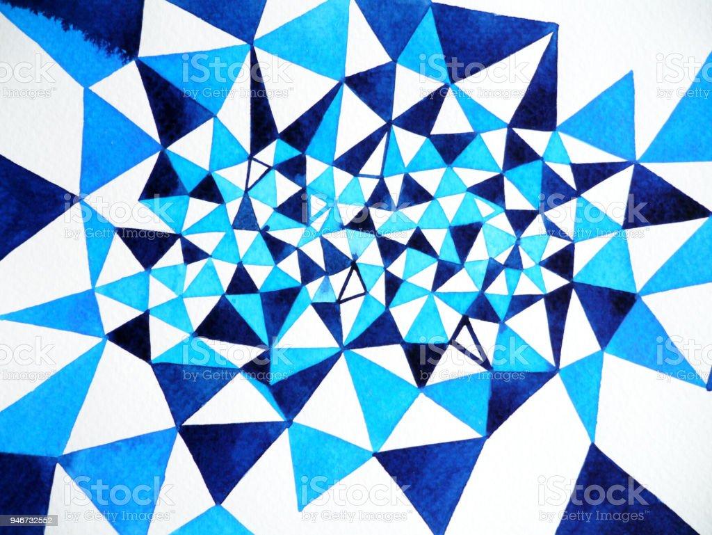 Aquarelle Abstraite Polygone Blanc Bleu Peinture Design Fond Forme