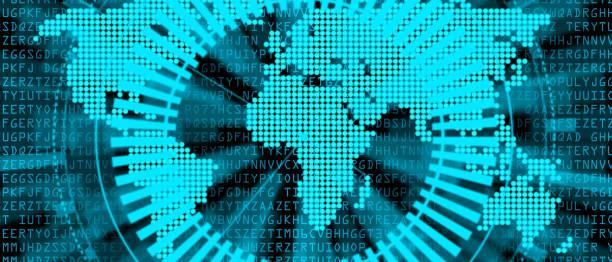 藍色世界地圖與雷達螢幕向量藝術插圖