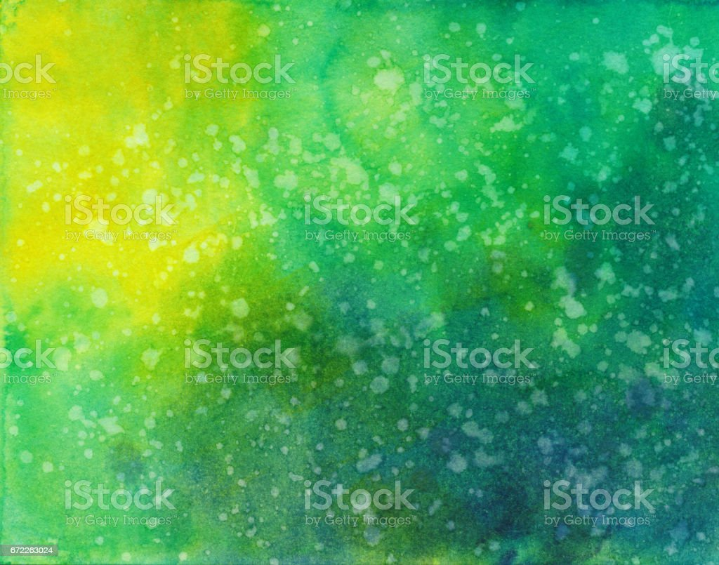 Azul amarillo verde pintado a mano de fondo - ilustración de arte vectorial