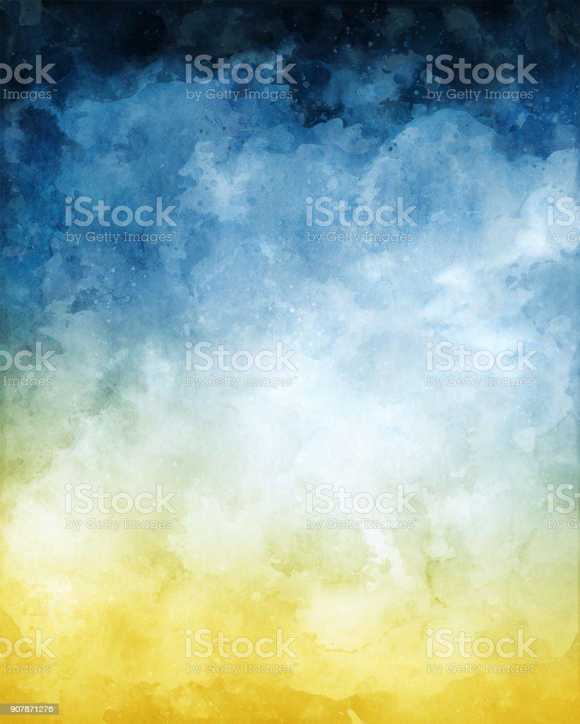 Fondo abstracto acuarela amarillo azul - ilustración de arte vectorial