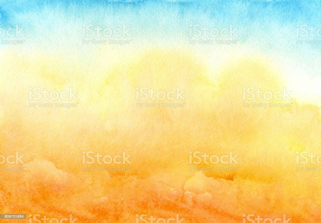 blue yellow watercolor background - ilustración de arte vectorial