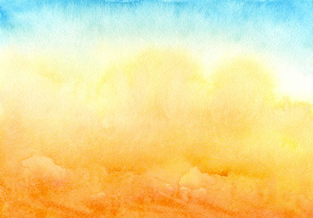 blue yellow watercolor background - watercolor background stock illustrations, clip art, cartoons, & icons