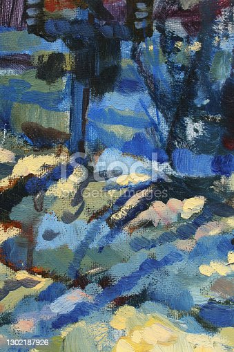 istock Blue yellow white abstract oil painting on canvas texture background. Snow winter or sky. Art creative brushstroke object for textile, card, wallpaper, wrapping 1302187926
