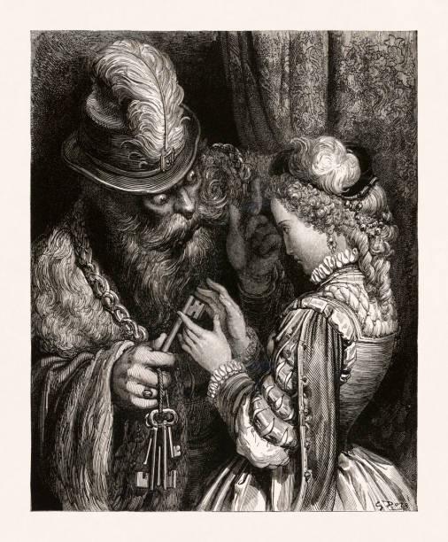 Bluebeard from the folktale by Charles Perrault vector art illustration