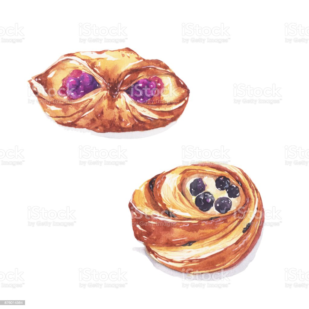 Blueberry danish and raisin danish. vector art illustration