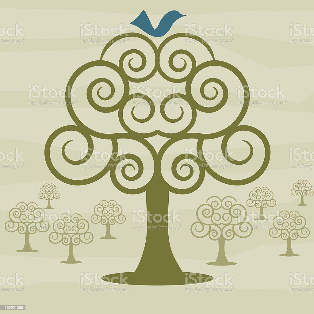 Bluebird in Swirly Orchard royalty-free bluebird in swirly orchard stock vector art & more images of animal