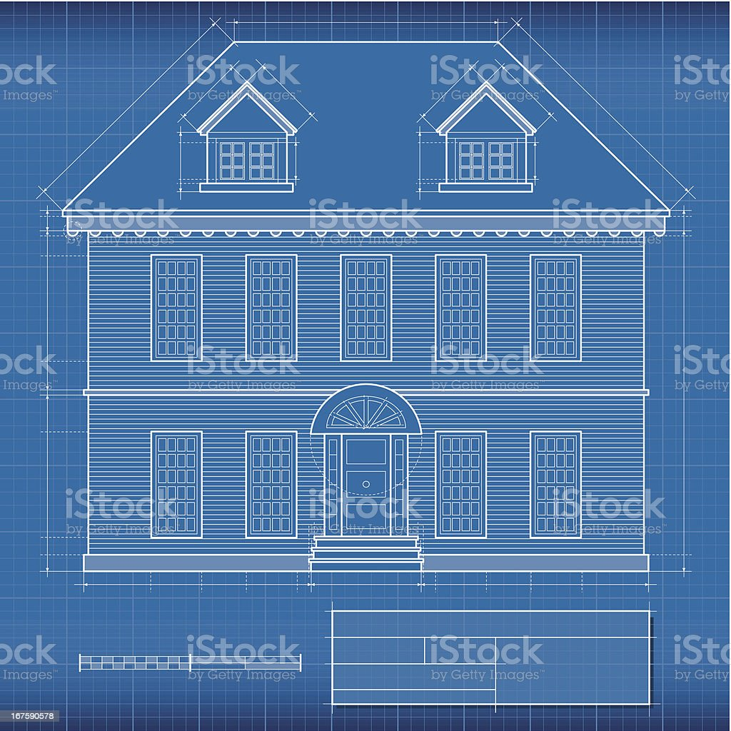 Blueprint, house royalty-free blueprint house stock vector art & more images of architectural feature