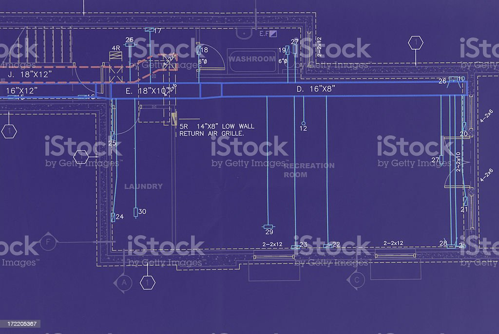 HVAC blueprint vector art illustration