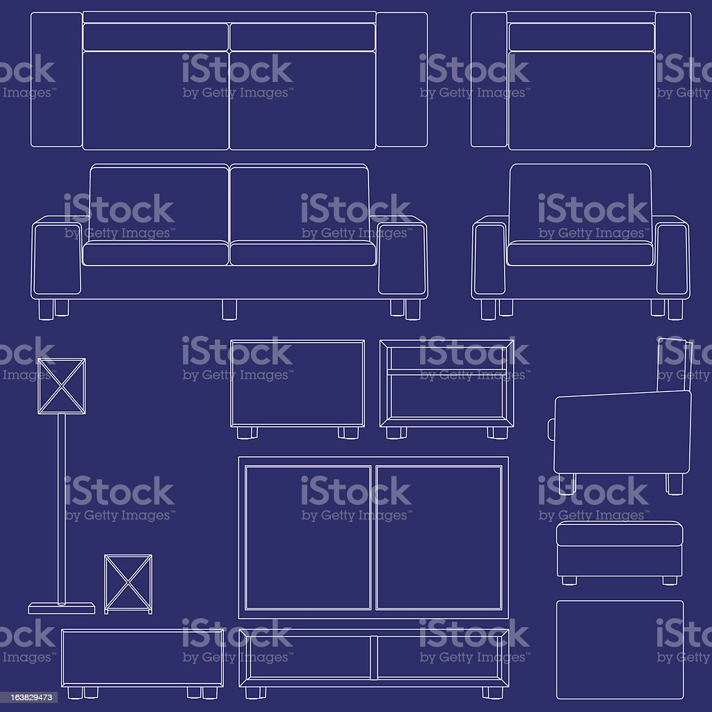 Blueprint living room furniture stock vector art 163829473 istock blueprint living room furniture royalty free stock vector art malvernweather Choice Image