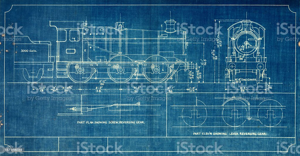 A blueprint of a vintage train, outlined in white vector art illustration