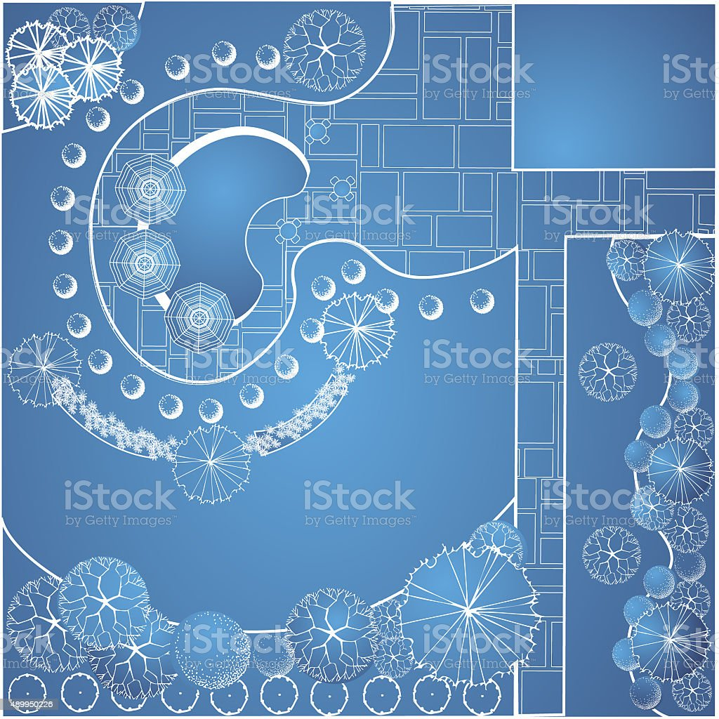 Blueprint of garden plan vector art illustration