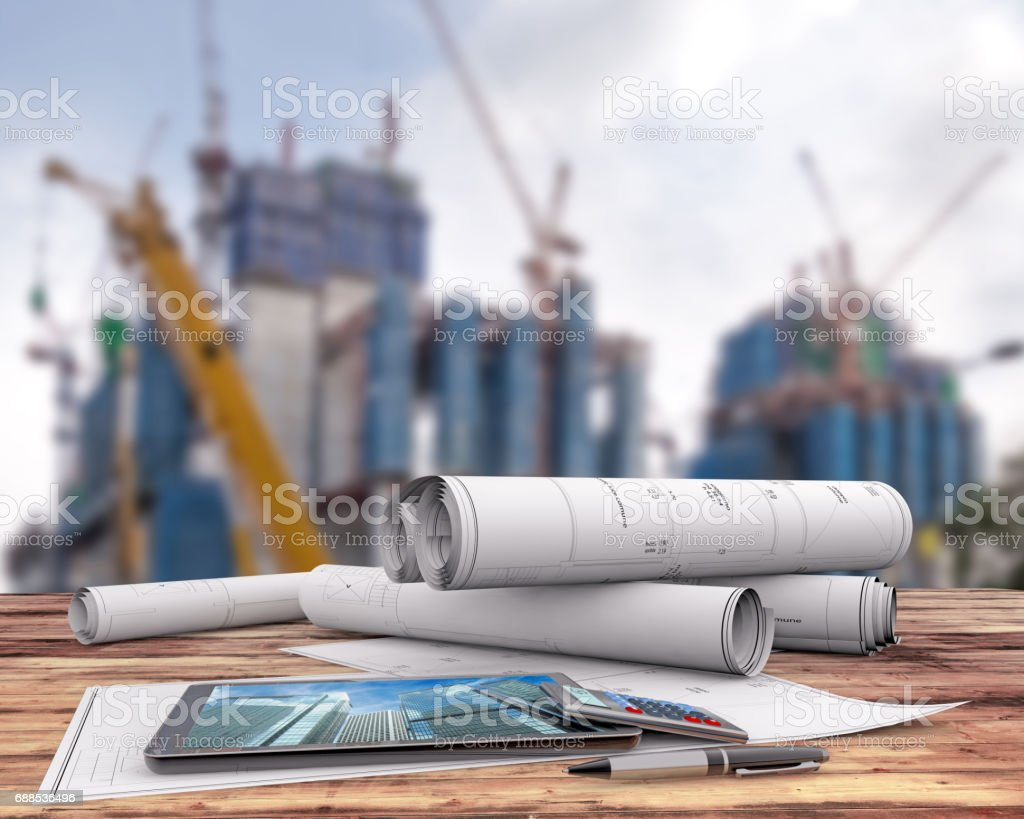 blueprints and tablet in the construction site vector art illustration