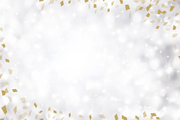blur elegance silver color background with white bokeh light and blink star and gold confetti flying spreading and copyspace for design on special day such as merry christmas festival , happy new year 2019 celebration, national event - anniversary backgrounds stock illustrations