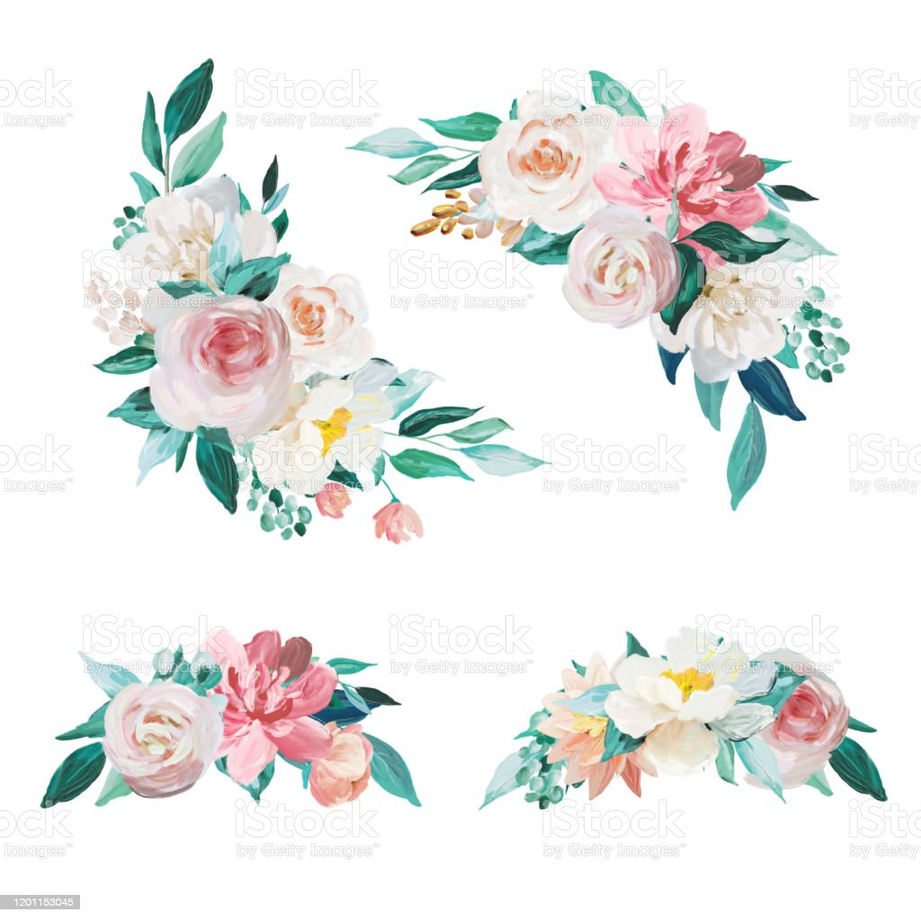 Blush And Mint Floral Bouquet Set Isolated On White Background