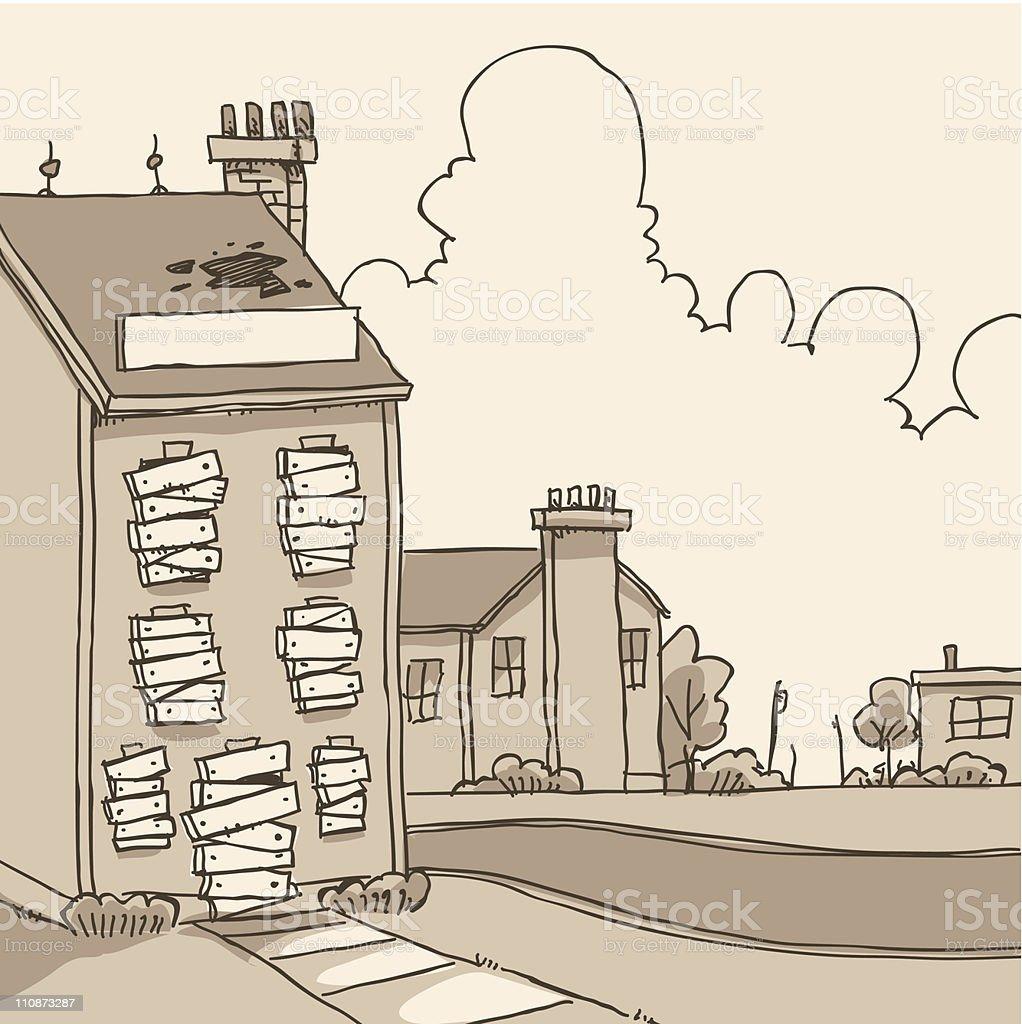 Boarded Up Building vector art illustration