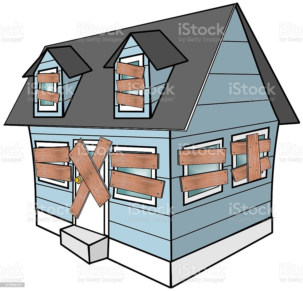 Boarded Up House vector art illustration