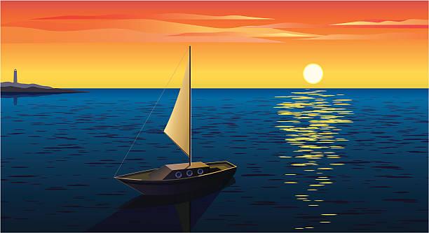 bildbanksillustrationer, clip art samt tecknat material och ikoner med boat at sunset - spegling