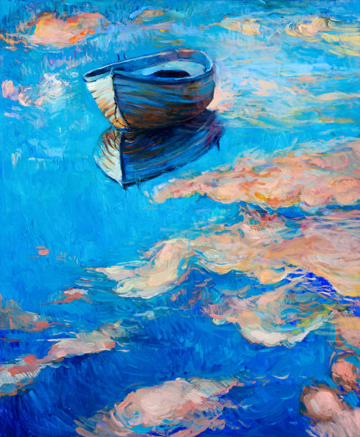 Boat Original abstract oil painting of boat