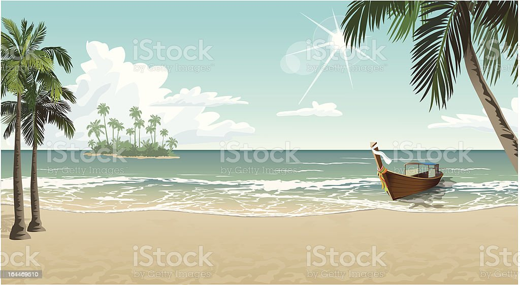 boat on a tropical beach royalty-free stock vector art