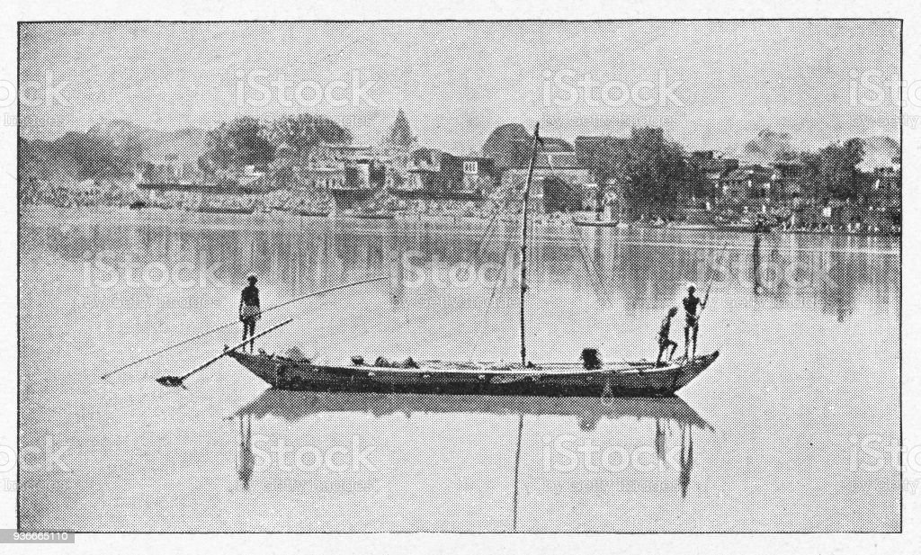 Boat on the Ganges River in Cawnpore, India - British Era vector art illustration