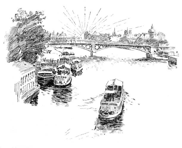 Boat on the river just passed a bridge Engravings from the 1850 novel Handel en wandel by F.W. Hacklander showing domestic life in the mid 19th century in the 1886 Dutch edition seine river stock illustrations