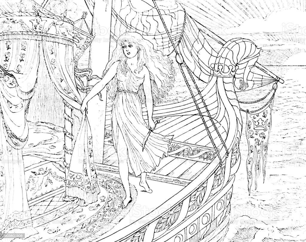 Cena de barco, da pequena sereia de Andersen - ilustração de arte em vetor