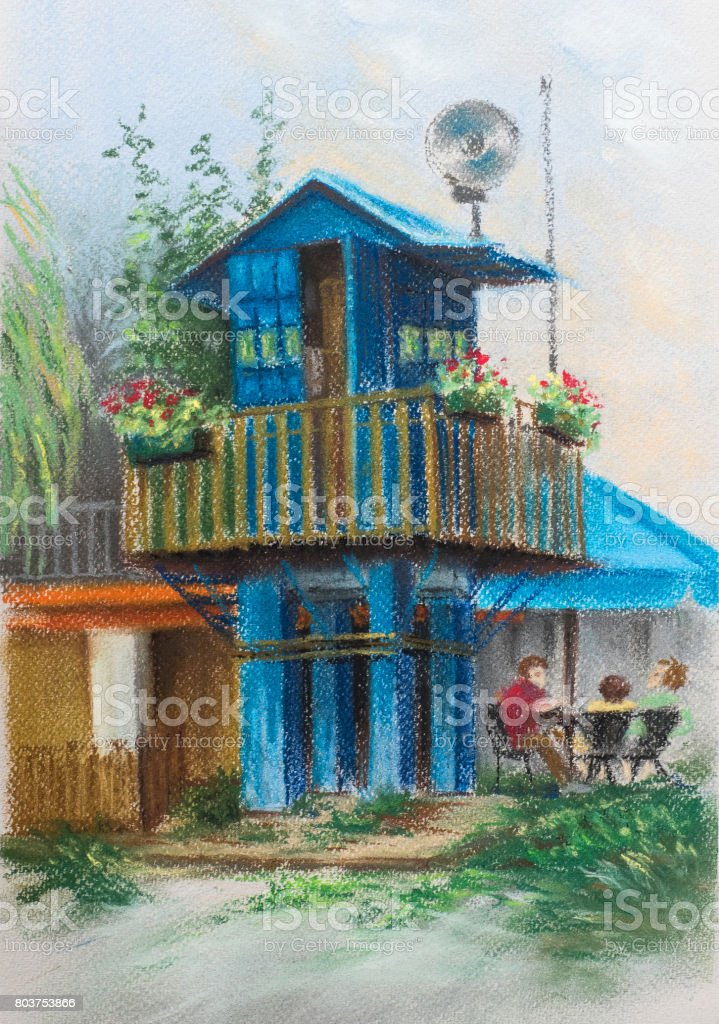 Boat Station Blue Guard House On Piles House With Balcony And