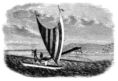 Boat with outrigger from the South Sea islands ,Pirogue, Santa Cruz