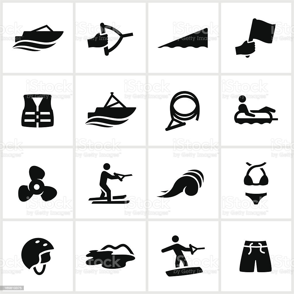 Boating Recreation Icons vector art illustration