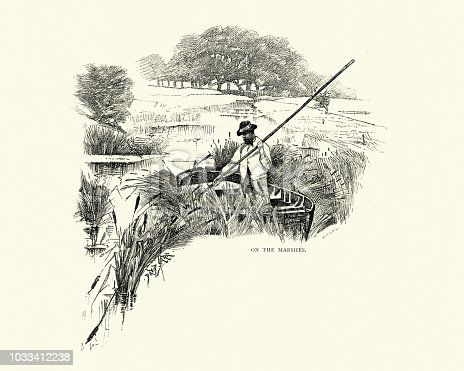 Vintage engraving of a Boatman on the marshes, near Rye, Sussex, 19th Century.