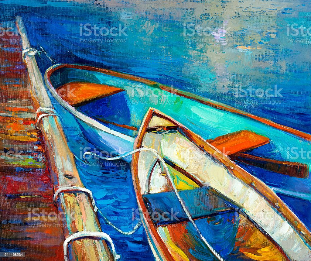 Boats and pier vector art illustration
